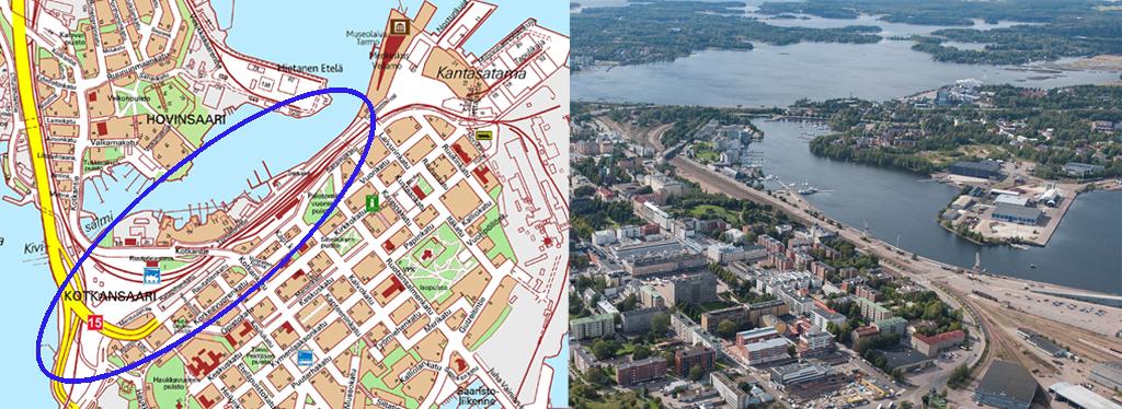 Kuvassa esitetty sisääntulotien kaava-alueen sijainti.