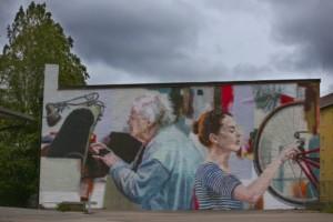 Kuvassa muraali-seinämaalaus