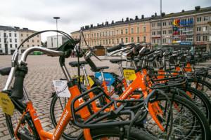 Kuvassa kaupunkipyörät