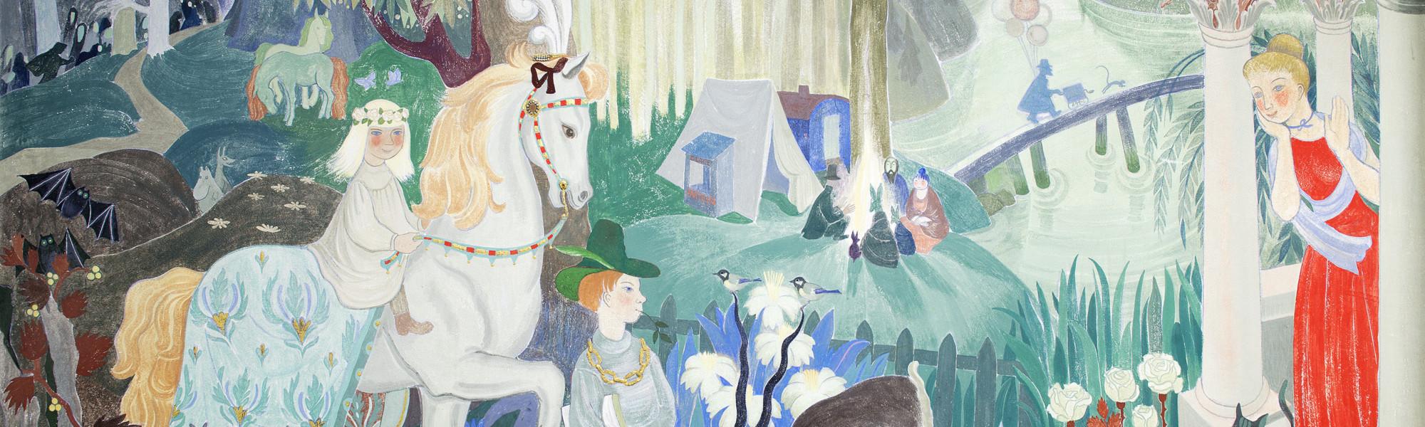 Tove Janssonin seinämaalaus Kotkan Lastenkulttuurikeskuksessa