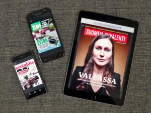 E-lehtiä tabletin ja puhelimen ruudulla