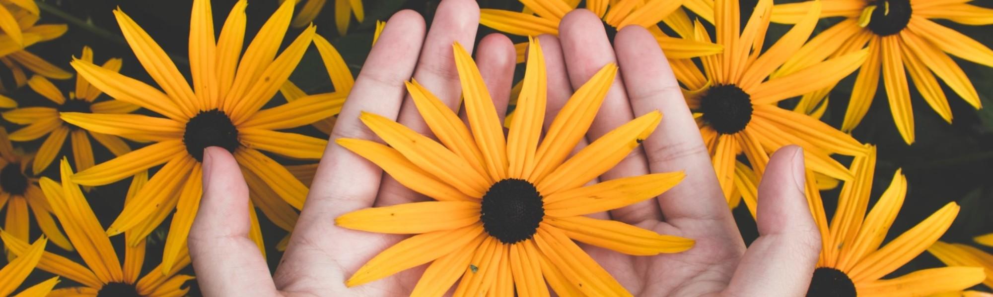 Heltainen kukka kädessä