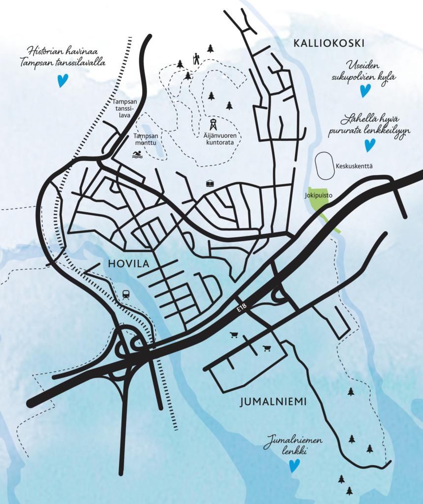 Kartta Kallioskesta ja Hovilasta