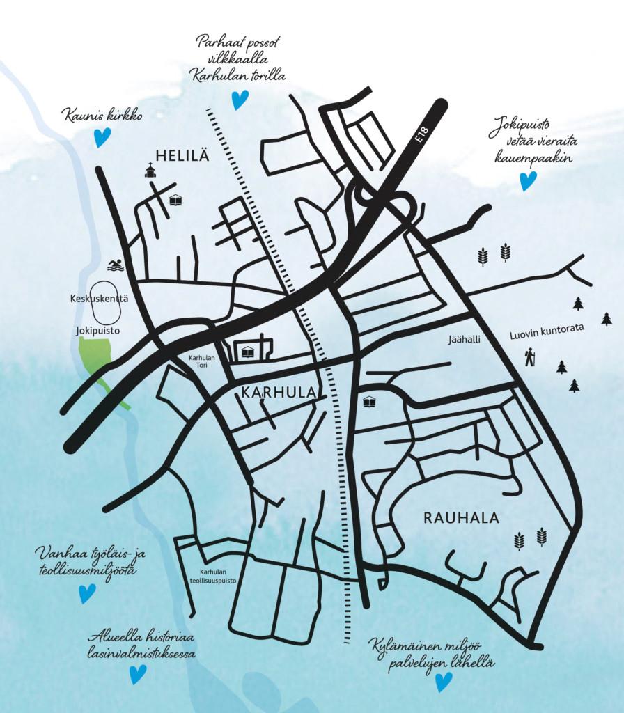 Kartta Karhulasta, Helilästä ja Rauhalasta