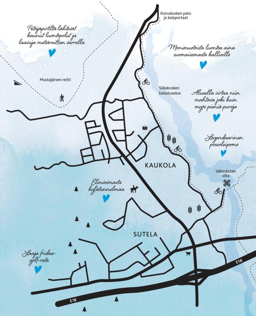 Kartta Kaukolan, Sutelan ja Pernoon alueista