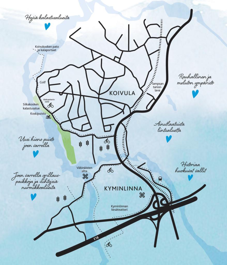 Kartta Koivulan ja Kyminlinnan alueesta