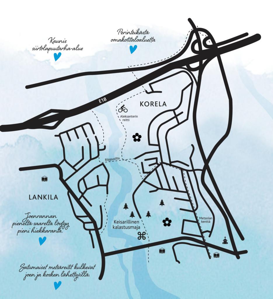 Kartta Lankilasta ja Korelasta