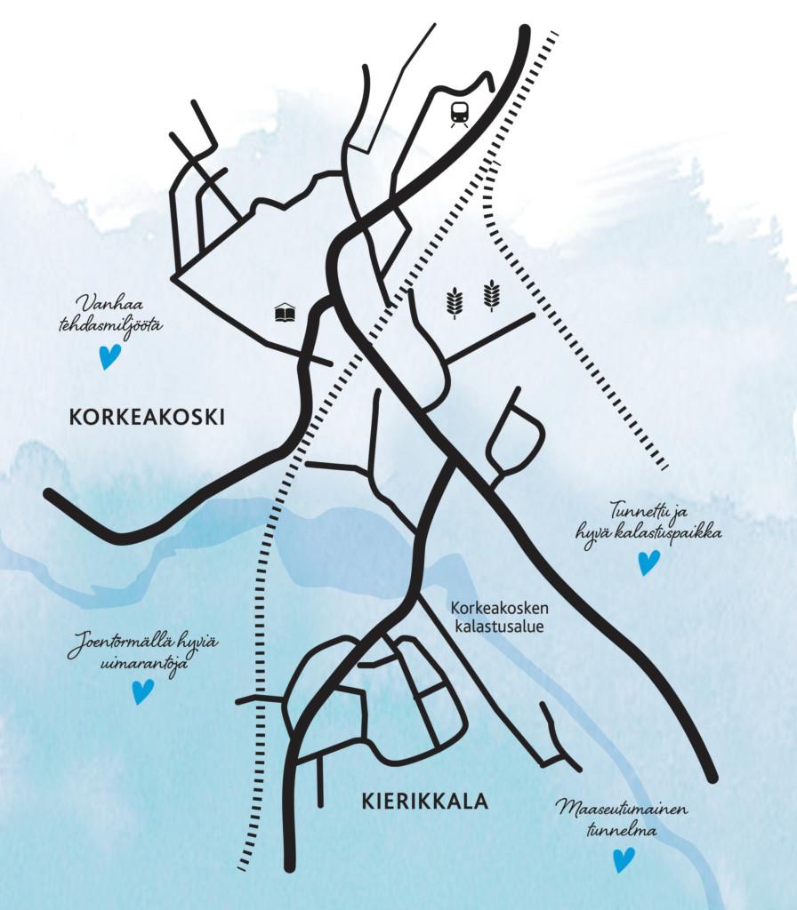Kartta Korkeskosken ja Kierikkalan alueesta