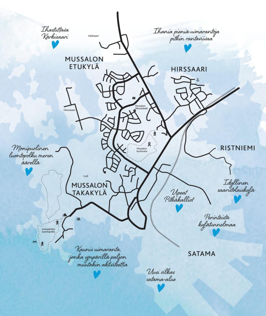 Kartta Mussalosta ja Hirssaaresta