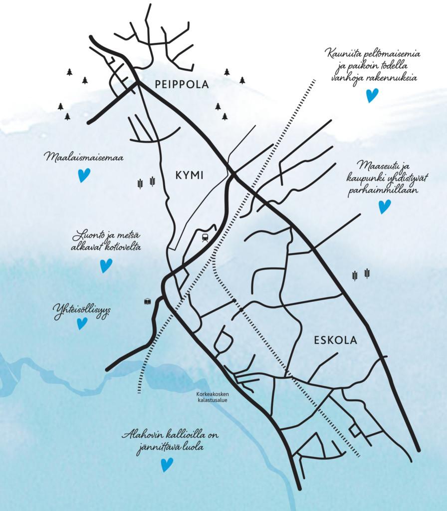 Kartta Peippolan, Kymin ja Eskolan alueista