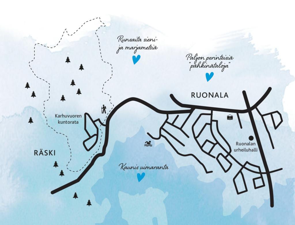 Kartta Ruonalan ja Räskin alueista