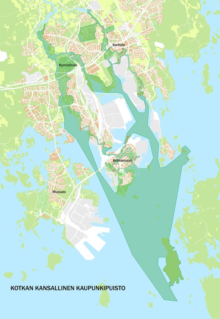 Karttakuvassa on esitetty Kotkan kansallisen kaupunkipuiston rajaus