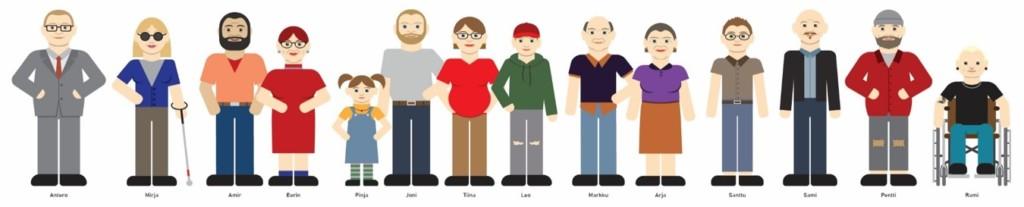 Kuvassa Digitukihankkeen Kymnelaaksolainen perhe, eli kuvitetut hahmot.