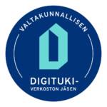 Valtakunnallisen Digituki-verkoston jäsenten pyöreä sininen tunnus
