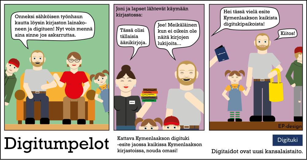 Kuvassa on Digitumpelot-sarjakuva, jossa opastetaan käyttämään kirjaston digitukipalveluita.