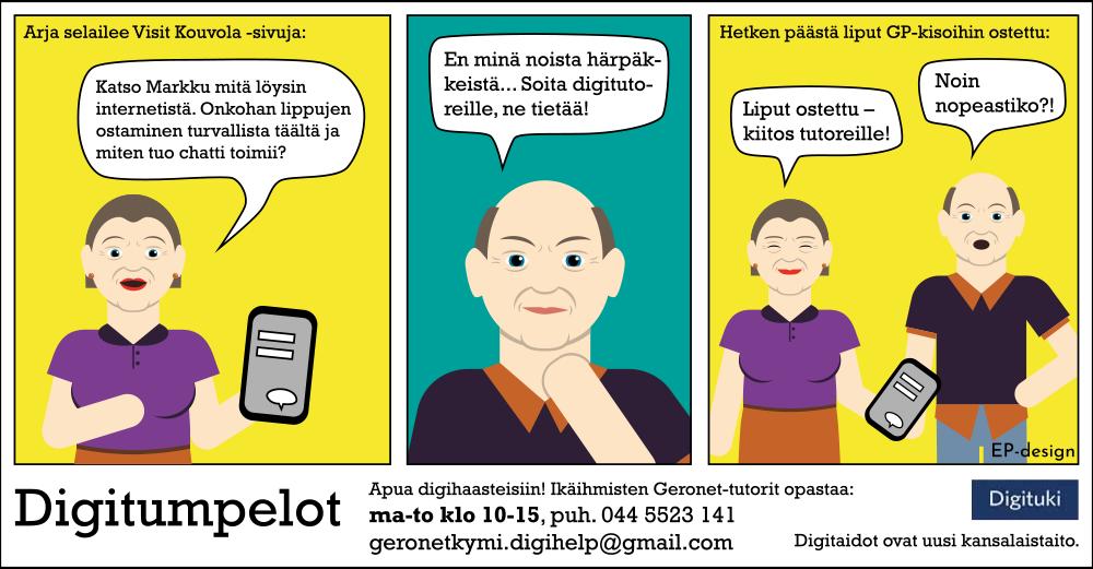 Kuvassa on Digitumpelot-sarjakuva, jossa pohditaan verkko-ostamista ja soitetaan Digitutoreille.