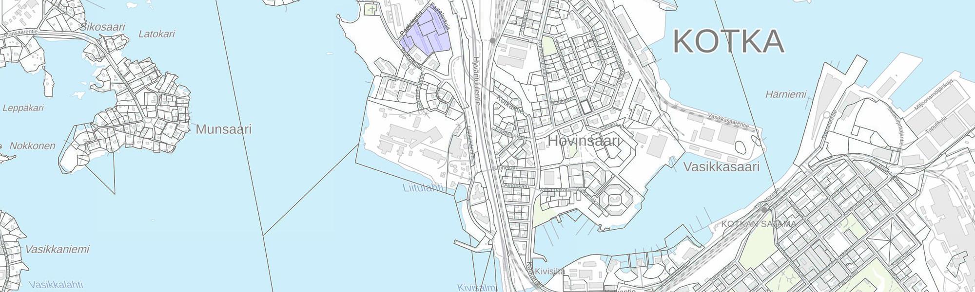 Kuvassa esitetty Kotkan Sote-keskuksen kaava-alueen sijainti.
