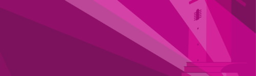 Kuvassa Haukkavuoren näkötorni piirrosversiona, violetilla pohjalla.