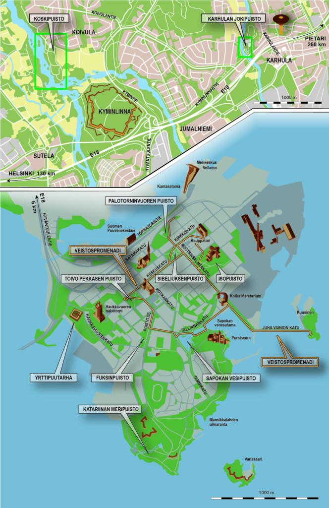 Kuvassa on kartta Kotkan puistoista